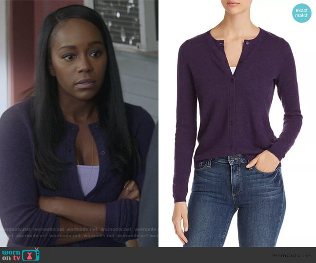 Crewneck Cashmere Cardigan by C by Bloomingdale's worn by Michaela Pratt (Aja Naomi King) on HTGAWM