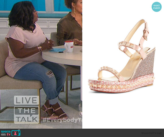 Pyradiams Platform Wedge Sandal by Christian Louboutin worn by Sheryl Underwood  on The Talk