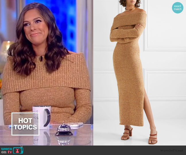 Mariel off-the-shoulder knitted maxi dress by Cult Gaia worn by Abby Huntsman  on The View