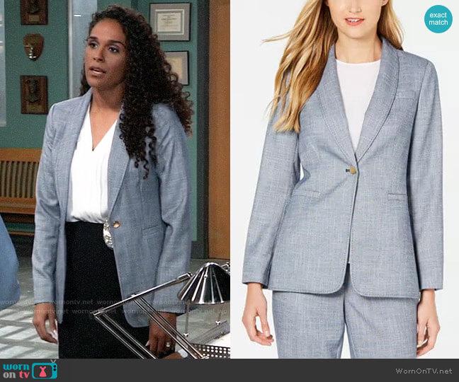 Calvin Klein One-Button Shawl-Collar Blazer worn by Jordan Ashford (Briana Nicole Henry) on General Hospital