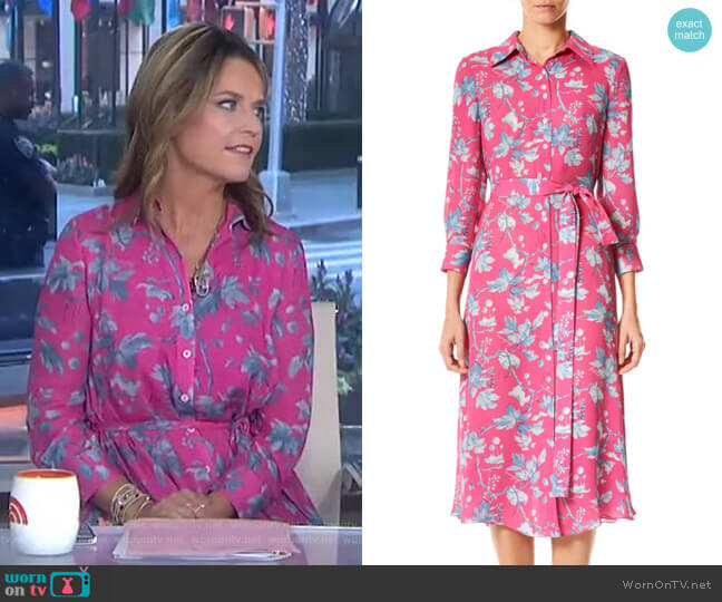 Floral Belted Silk Midi Dress by Carolina Herrera worn by Savannah Guthrie  on Today