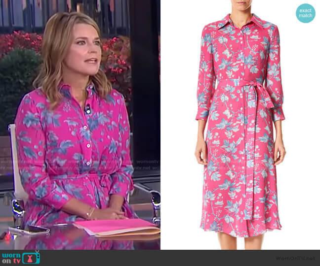 Floral Belted Silk Midi Dress by Carolina Herrera worn by Savannah Guthrie  on Today