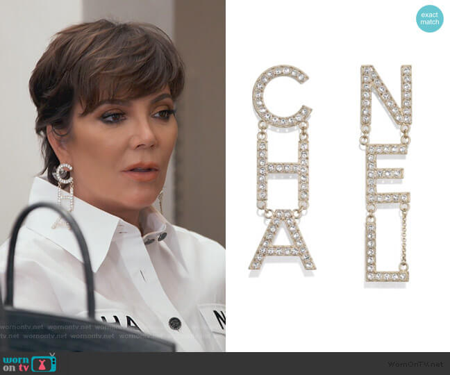 Runway XL Chain Earrings by Chanel worn by Kris Jenner  on Keeping Up with the Kardashians