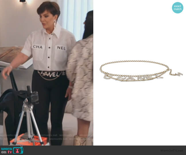 Metal and Strass Gold and Crystal Belt by Chanel worn by Kris Jenner  on Keeping Up with the Kardashians