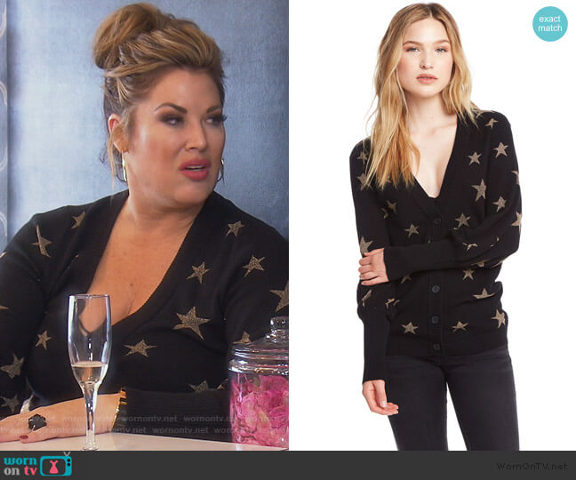 Gold Star Bishop Sleeve Cardigan by Chaser worn by Emily Simpson  on The Real Housewives of Orange County