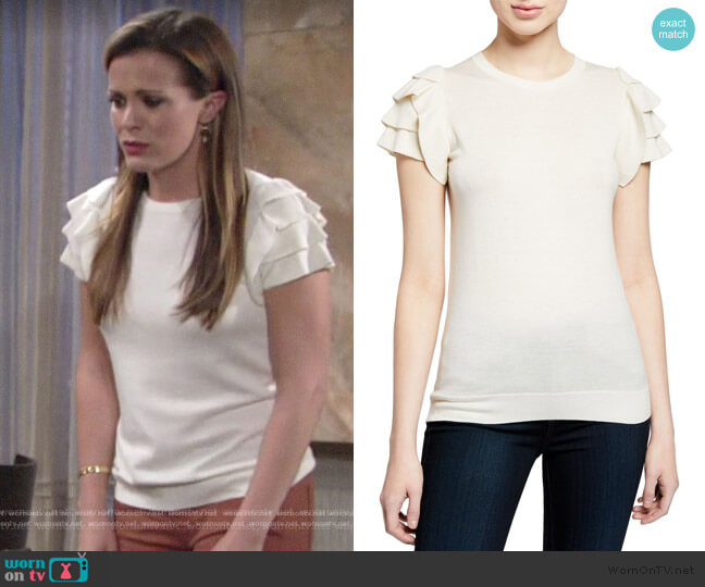 Cashmere Short-Sleeve Ruffle-Shoulder Top by Neiman Marcus Cashmere Collection worn by Chelsea Lawson (Melissa Claire Egan) on The Young & the Restless