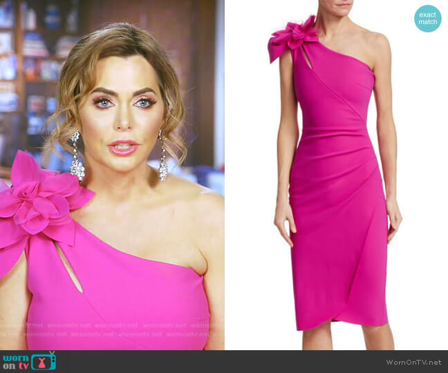 Gosia Mesh Flower Ruched Sheath Dress by Chiara Boni La Petite Robe worn by D'Andra Simmons  on The Real Housewives of Dallas