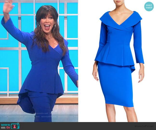 Zoya High-Low Peplum Cocktail Dress by Chiara Boni La Petite Robe worn by Marie Osmond  on The Talk