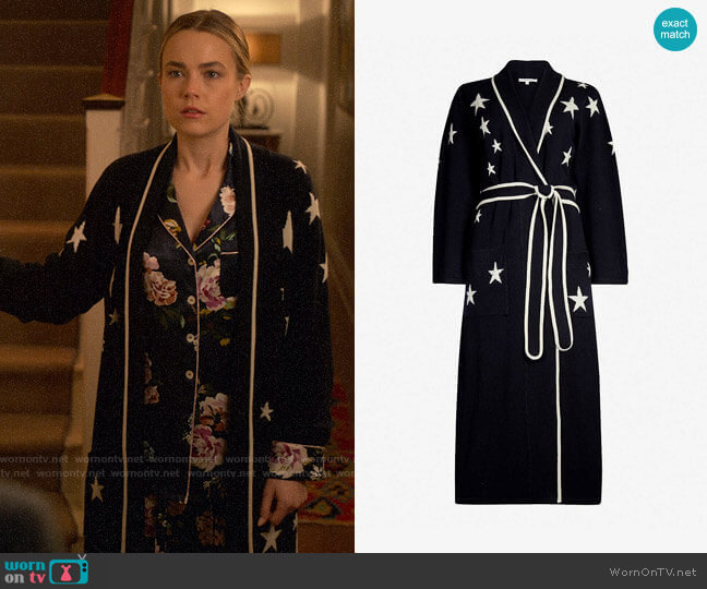 Chinti & Parker Star-intarsia cashmere dressing gown worn by Ainsley Howard (Rebecca Rittenhouse) on Four Weddings & a Funeral