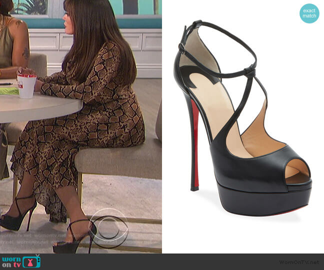 Alminalta Napa Red Sole Sandals by Christian Louboutihn worn by Marie Osmond  on The Talk