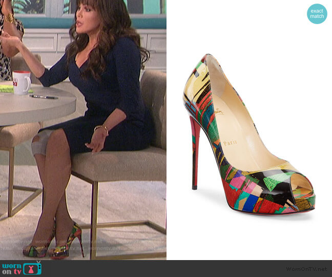 New Very Privé Peep-Toe Patent Leather Pumps by Christian Louboutin worn by Marie Osmond  on The Talk