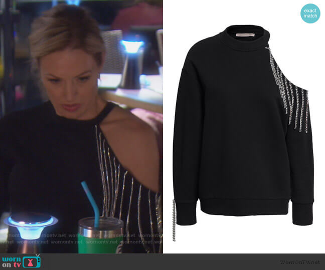 Cutout embellished French cotton-terry sweatshirt by Christopher Kane worn by Braunwyn Windham-Burke  on The Real Housewives of Orange County