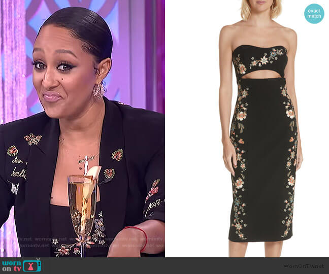 Clemence Embroidered Strapless Dress by Cinq a Sept worn by Tamera Mowry  on The Real