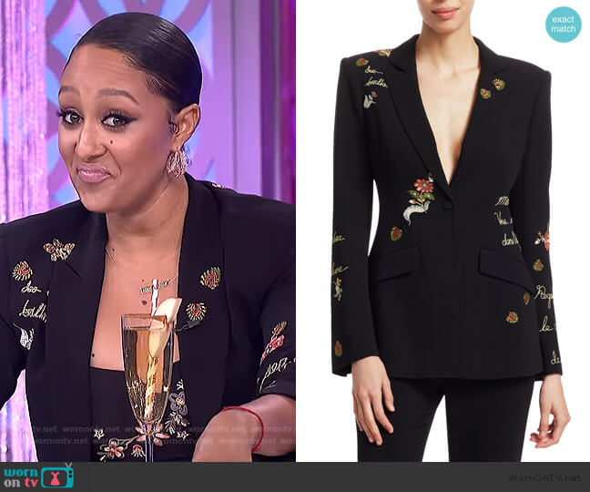 Estelle Paisley Love Letter Embroidered Crepe by Cinq a Sept worn by Tamera Mowry  on The Real