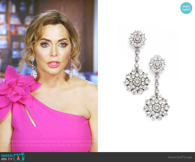 Classic Jeweled Swarovski Crystal Drop Earrings by Oscar de la Renta worn by D'Andra Simmons  on The Real Housewives of Dallas