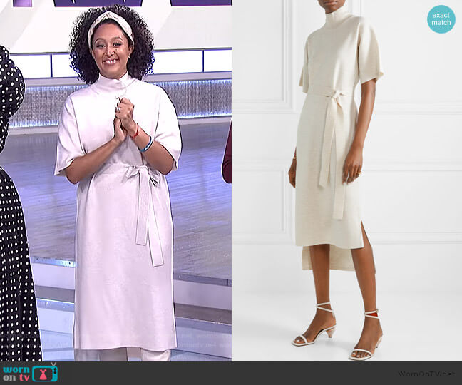 Belted stretch-wool turtleneck midi dress by Co worn by Tamera Mowry  on The Real