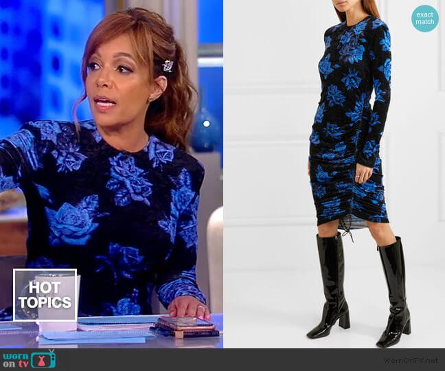 Ruched Floral-print Velvet Dress by Commission worn by Sunny Hostin  on The View
