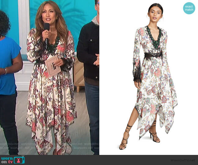 V Neck Bishop Sleeve Dress by Costarellos worn by Carrie Inaba  on The Talk