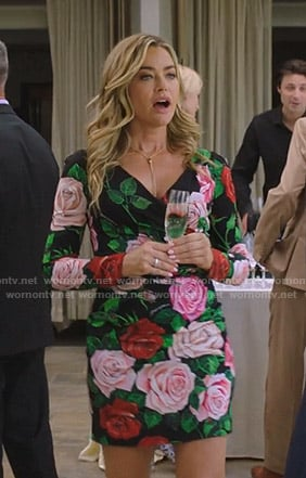 Denise Richards's black rose print dress on BH90210