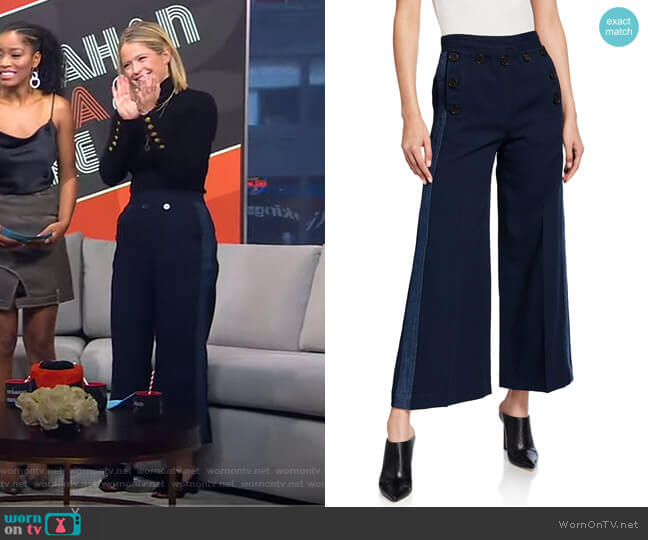 Side-Stripe Culottes with Sailor Buttons by Derek Lam 10 Crosby worn by Sara Haines  on Good Morning America