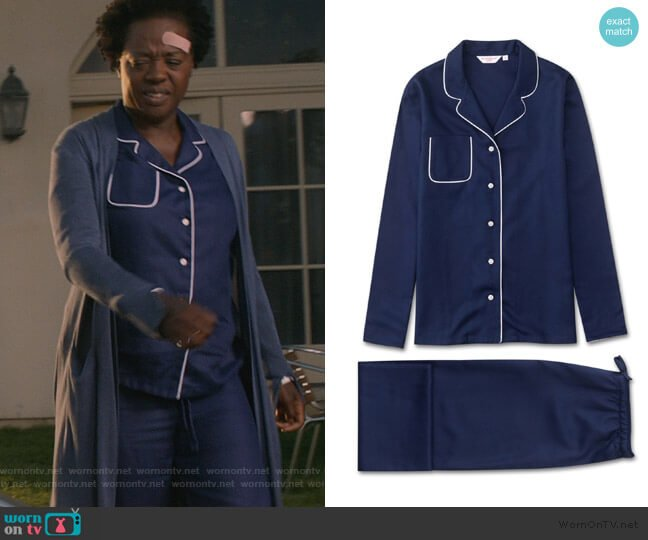 Lombard 6 Pure Jacquard by Derek Rose worn by Annalise Keating (Viola Davis) on HTGAWM