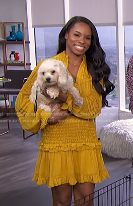 Devyn Simone's yellow smocked dress on E! News Daily Pop