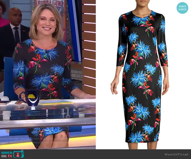 Saihana Floral-Print Midi Dress by Diane von Furstenberg worn by Amy Robach  on Good Morning America