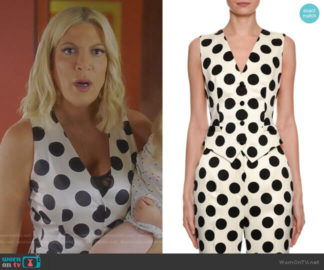 Polka-Dot Duchess Satin Vest by Dolce & Gabbana worn by Tori Spelling  on BH90210