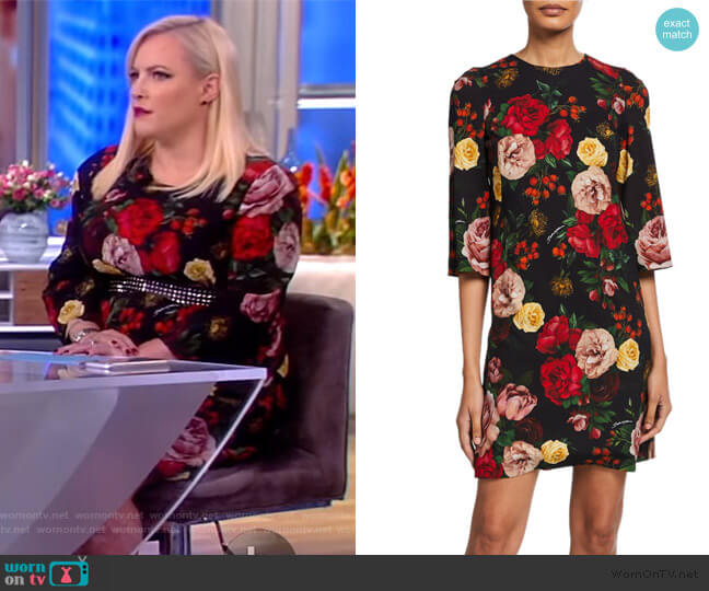 Crepe Rose Print Shift Dress by Dolce & Gabbana worn by Meghan McCain  on The View