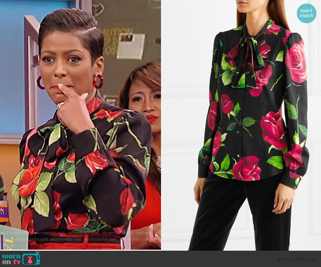 Pussy-bow floral-print silk-blend blouse by Dolce & Gabbana worn by Tamron Hall  on Tamron Hall Show