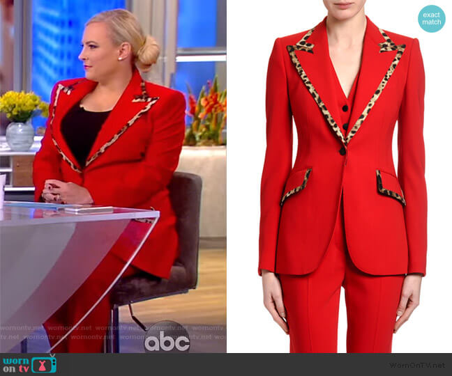 Leopard-Trimmed Wool Blazer and pants by Dolce & Gabbana worn by Meghan McCain  on The View