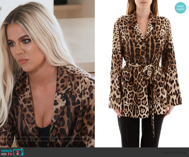 Leopard-Print Satin Pajama Shirt by Dolce & Gabbana worn by Khloe Kardashian  on Keeping Up with the Kardashians
