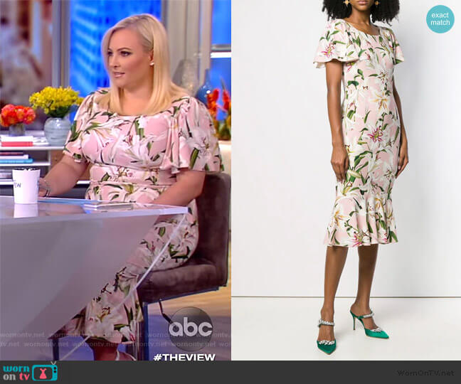Floral-print crepe mini dress by Dolce & Gabbana worn by Meghan McCain  on The View