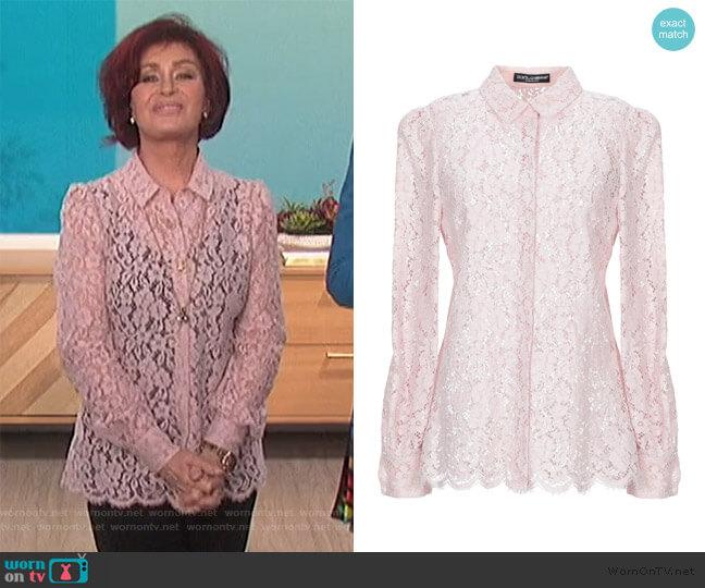 Lace Shirt by Dolce & Gabbana worn by Sharon Osbourne  on The Talk