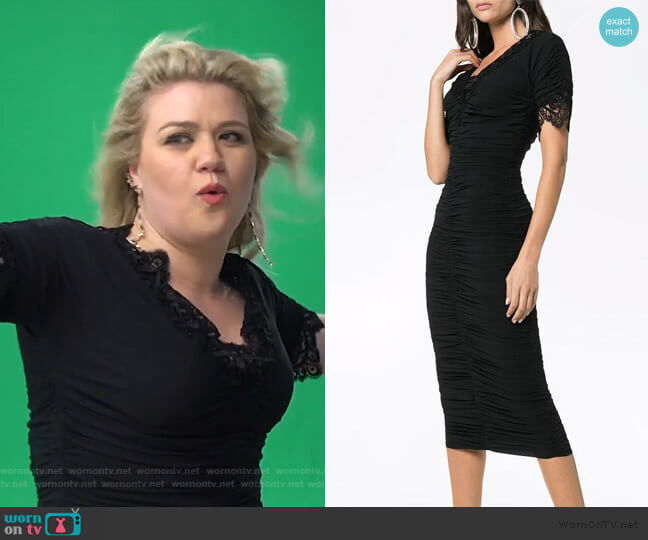 Trimmed Ruched Silk Georgette Dress by Dolce & Gabbana worn by Kelly Clarkson  on The Kelly Clarkson Show
