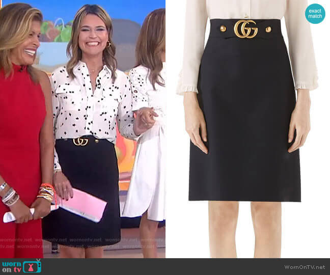 Double G Wool & Silk Crepe A-Line Skirt by Gucci worn by Savannah Guthrie  on Today