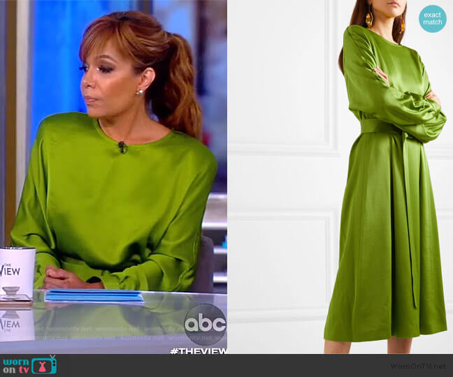 Dicina Belted Satin Midi Dress by Dries Van Noten worn by Sunny Hostin  on The View