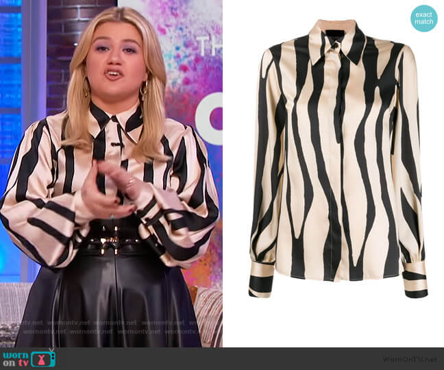 Animal Print Shirt by Erika Cavallini worn by Kelly Clarkson  on The Kelly Clarkson Show