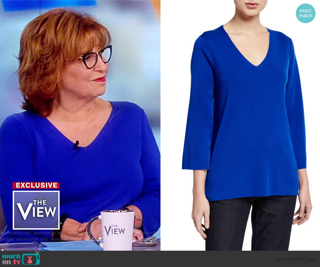 V-Neck 3/4-Sleeve Merino Wool Top by Eileen Fisher worn by Joy Behar  on The View