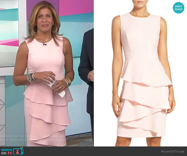 Ella Cascade Crepe Sheath Dress by Elizza J worn by Hoda Kotb  on Today