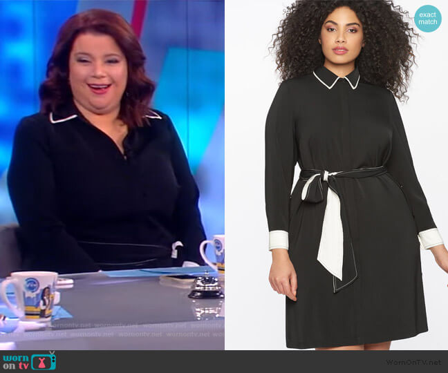 Contrast Detail Shirtdress with Tie Waist by Eloquii worn by Ana Navarro  on The View