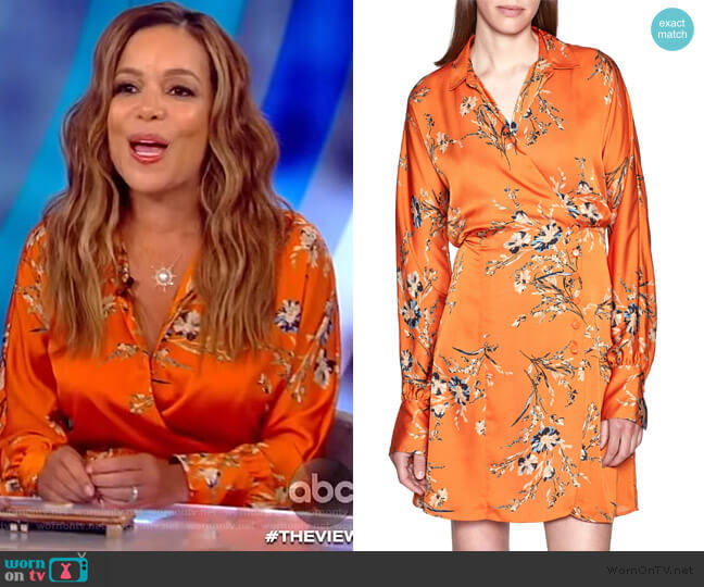 Harmon Floral Satin Wrap Dress by  Equipment worn by Sunny Hostin  on The View