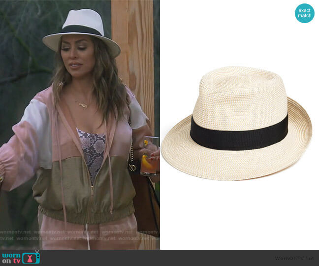 Packable Fedora Sun Hat by Eric Javits worn by Kelly Dodd  on The Real Housewives of Orange County