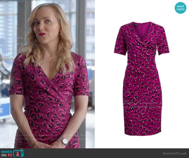 Escada Leopard-Print Jersey Faux Wrap Dress worn by Marissa Morgan (Geneva Carr) on Bull