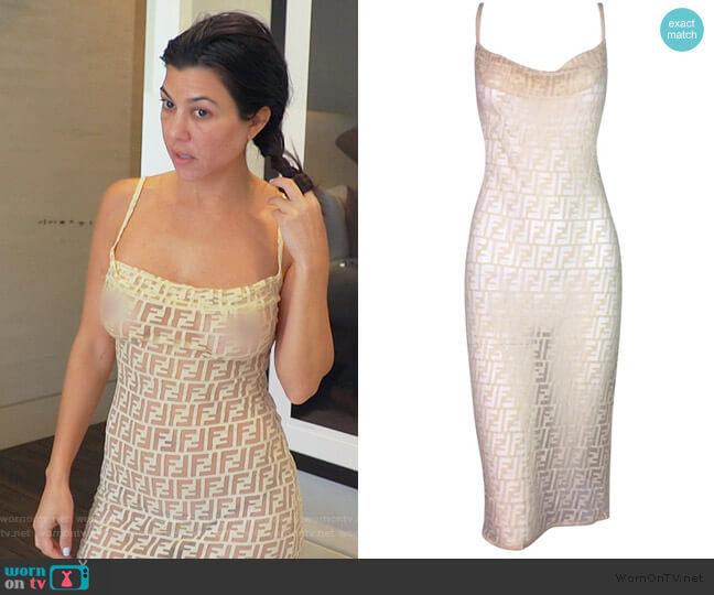 Sheer Monogram Logo Wiggle Dress by Fendi worn by Kourtney Kardashian  on Keeping Up with the Kardashians