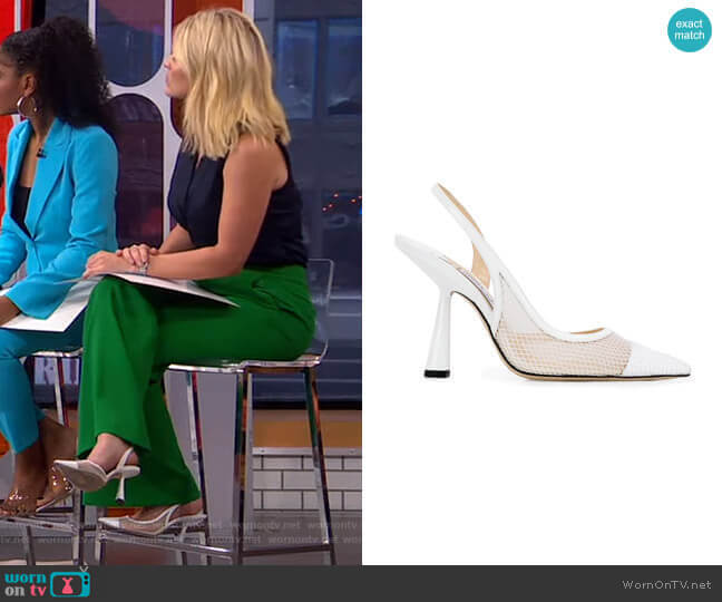Fetto 100 Slingback Pumps by Jimmy Choo worn by Sara Haines  on Good Morning America