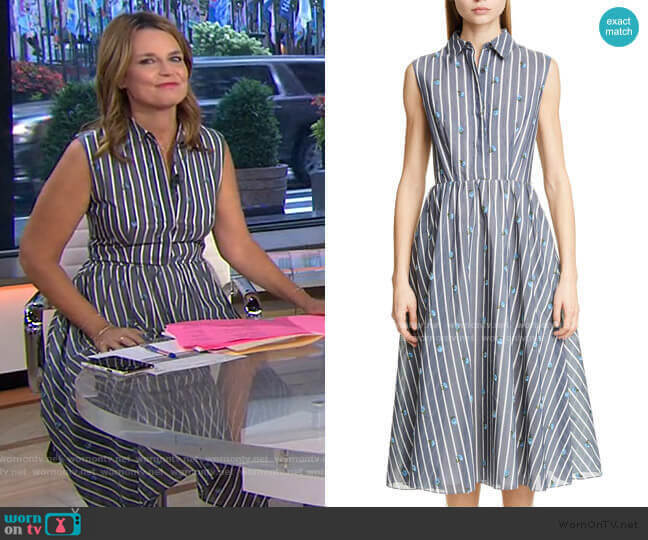 Floral Stripe Cotton & Silk Dress by Jason Wu worn by Savannah Guthrie  on Today