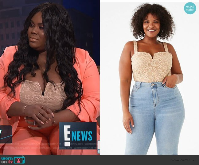 Plus Size Floral Lace Bodysuit by Forever 21 worn by Nina Parker  on E! News