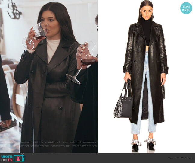 For FWRD Leather Trench Coat by Frame worn by Kylie Jenner  on Keeping Up with the Kardashians
