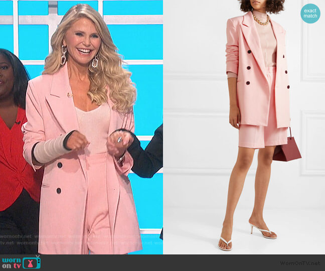 Julie double-breasted gabardine blazer and shorts by Frankie Shop worn by Christie Brinkley on The Talk